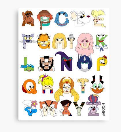 Child of the 80s Alphabet Canvas Print
