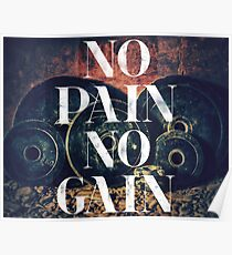 No Pain No Gain - Gym/fitness Motivational poster Poster