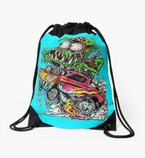 Retro Drag Racing Hot Rod gasser. Drawstring Bag