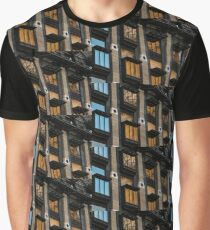 Big Ben Abstract - The Iconic Clock Reflected On A Wall Of Windows Graphic T-Shirt