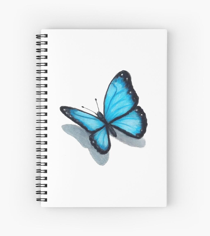 Cuadernos De Espiral Mariposa Azul Lápiz De Color Arte De Joyce