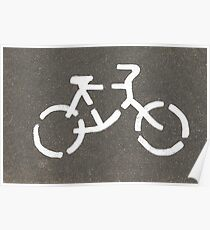 Bicycle road sign on the street Poster