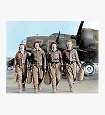 Four female pilots leaving their ship, Pistol Packin' Mama, at the four engine school at Lockbourne AAF. World War II, 1944. Photographic Print