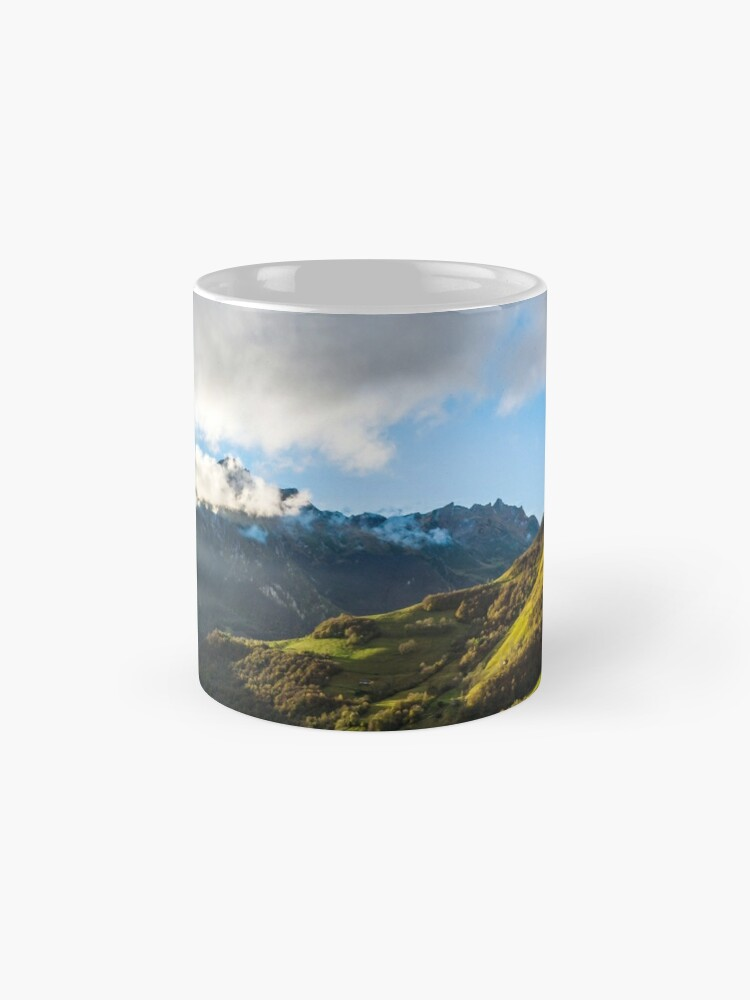 Alternate view of Wide panotamic view of Pyrenees on sunrise, France Mug
