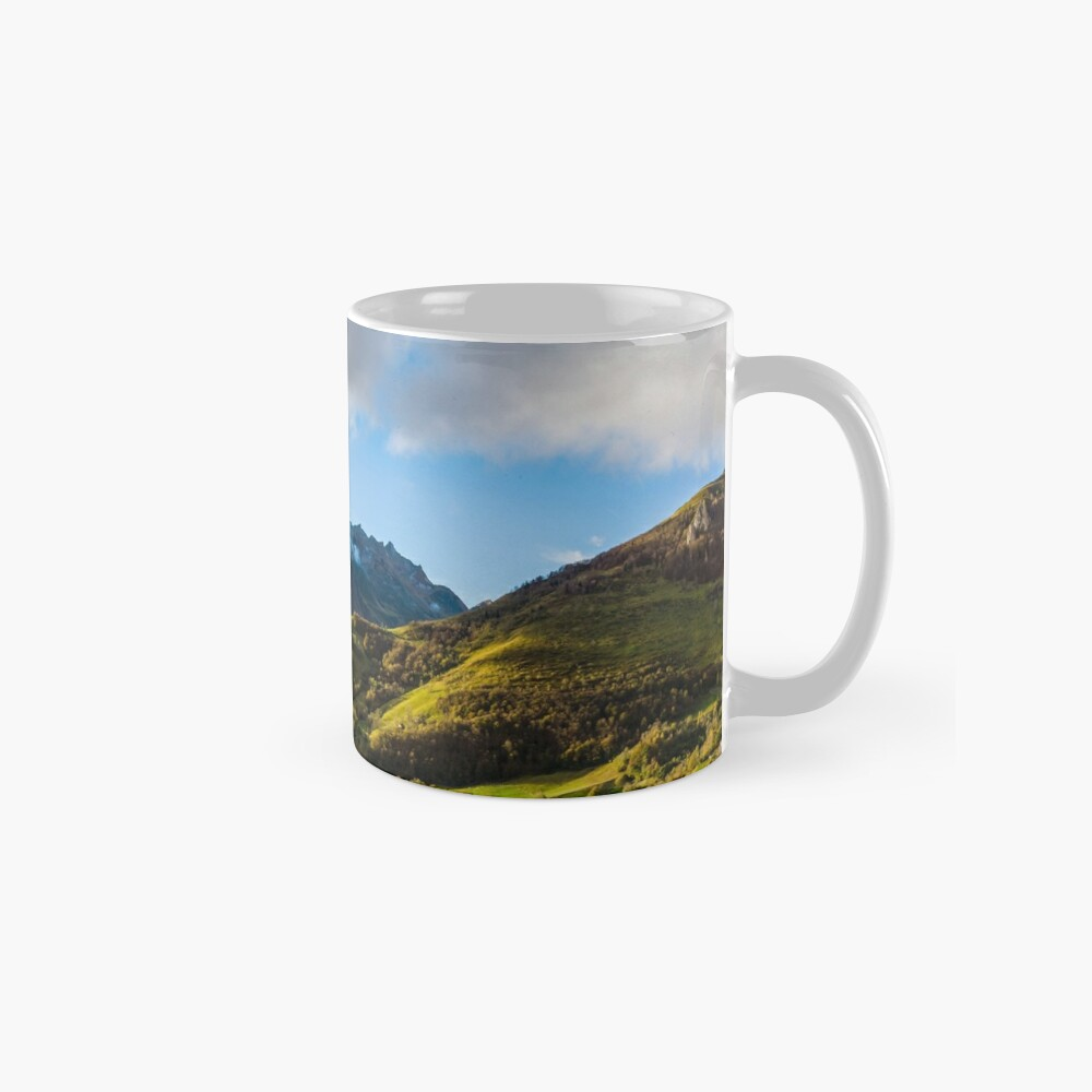 Wide panotamic view of Pyrenees on sunrise, France Mug