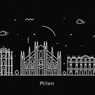 Milan Skyline Minimal Line Art Poster by A Deniz Akerman