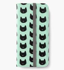 Niedliches Katzenmuster - Seafoam Green iPhone Flip-Case/Hülle/Skin