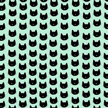 Lindo patrón de gato - Seafoam Green de DanaAndTheBooks