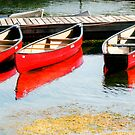 Three Red Canoes by Rosalie Scanlon