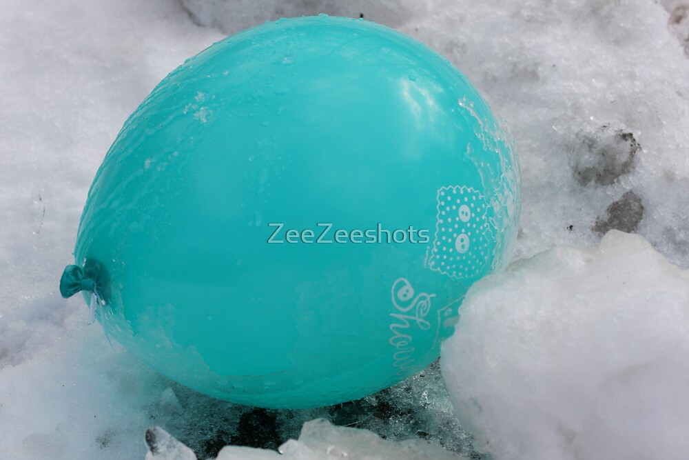 This green balloon lost in the cold by ZeeZeeshots