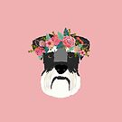 Schnauzer floral crown dog breed pet art schnauzers cute pure breed gifts by PetFriendly
