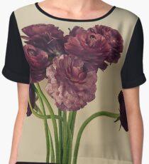 Purple Ranunculus Flowers Chiffon Top
