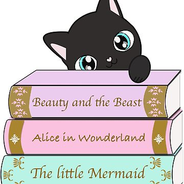 Beauty and the beast Alice in Wonderland The little mermaid cat book lovers by serelagatta