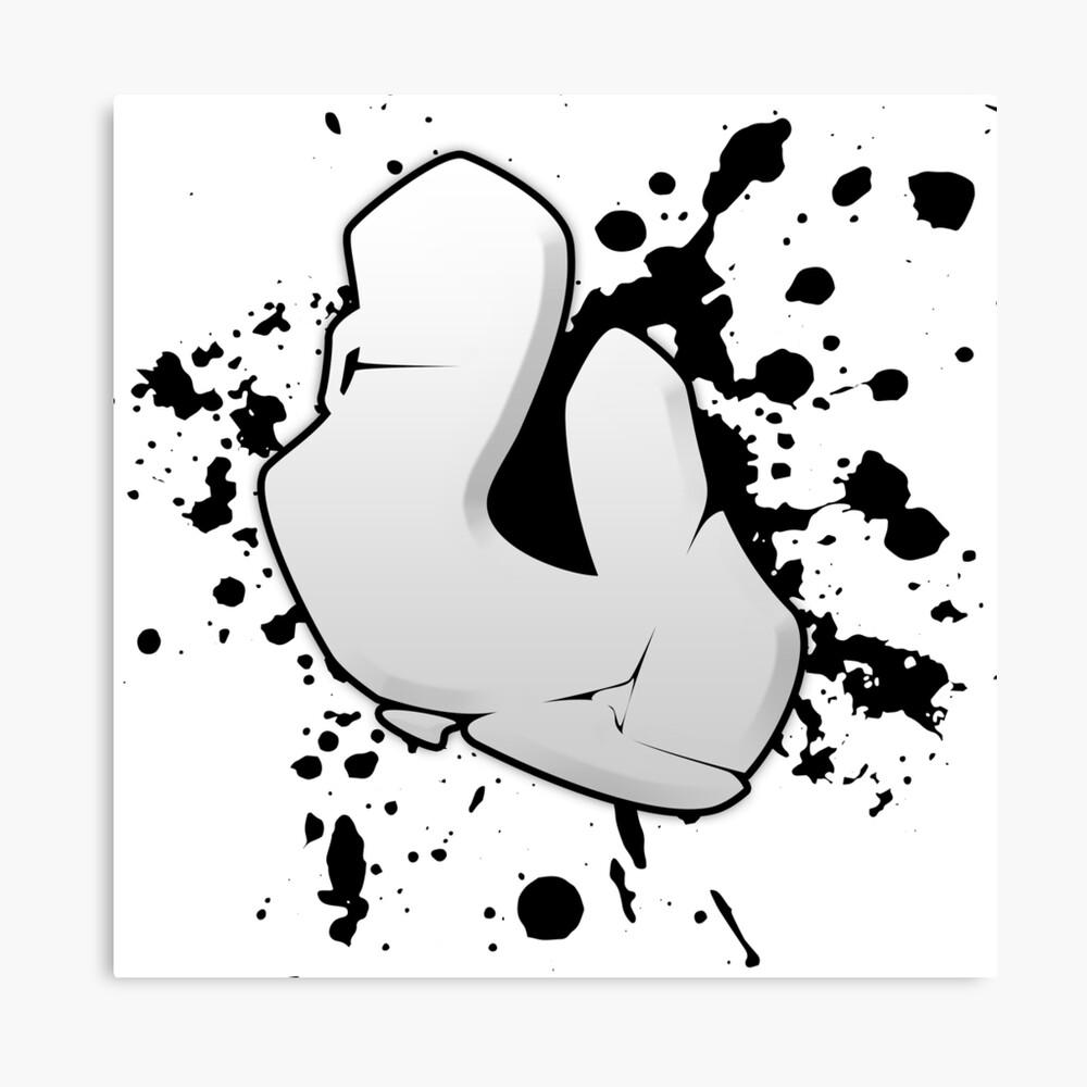 U graffiti letter canvas print