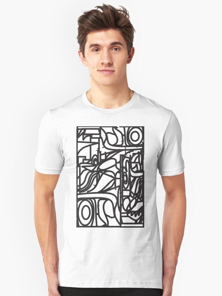 2d3a6814d Patrón de vidrio mancha orgánica (líneas negras sobre fondo blanco) Camiseta  unisex