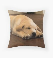 Sleeping Golden Yellow Labrador Puppy Dog Throw Pillow