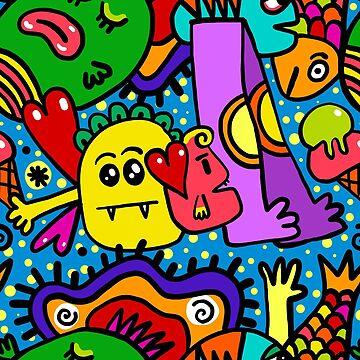 Cartoon Character Graffiti  by FringeInk