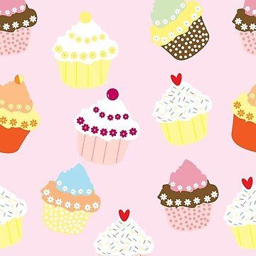 Cartoon Cupcake Pattern by FringeInk