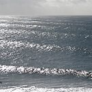 Surfers in bright light by Alex Evans