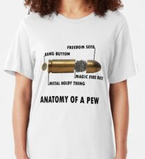 Anatomy of a Pew FPS Bullet Deconstruction For Gamers Geeks and Nerds Slim Fit T-Shirt