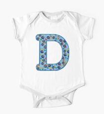 Soot Sprites Letter D Blue One Piece - Short Sleeve