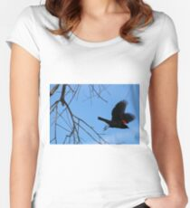 Red Winged Black Bird Women's Fitted Scoop T-Shirt