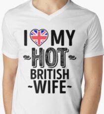 I Love My HOT British Wife - Cute United Kingdom Couples Romantic Love T-Shirts & Stickers Men's V-Neck T-Shirt