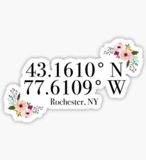 Rochester, NY Coordinates Sticker