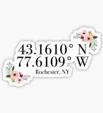 Pegatina Rochester, NY Coordenadas