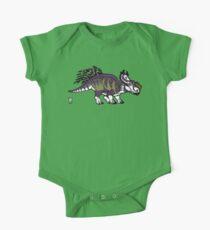Purple and Green Pachyrhinosaurus One Piece - Short Sleeve