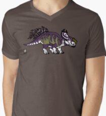 Purple and Green Pachyrhinosaurus Men's V-Neck T-Shirt