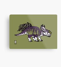 Purple and Green Pachyrhinosaurus Metal Print