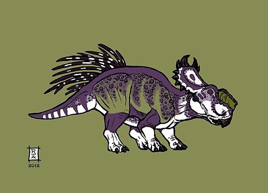 Purple and Green Pachyrhinosaurus by Raven Amos
