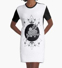 Geometric Garden Graphic T-Shirt Dress