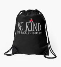 Be Kind - Text - Dark Background Drawstring Bag