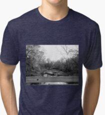 The Glow of the Rickety Bridge Black & White Tri-blend T-Shirt