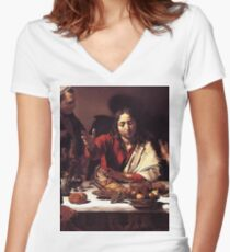 Supper at Emmaus - Caravaggio  Women's Fitted V-Neck T-Shirt