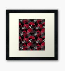 Abstract polygonal pattern.Red, black, grey triangles. Framed Print