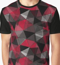 Abstract polygonal pattern.Red, black, grey triangles. Graphic T-Shirt