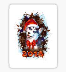Funny Husky New Year 2018 Sticker