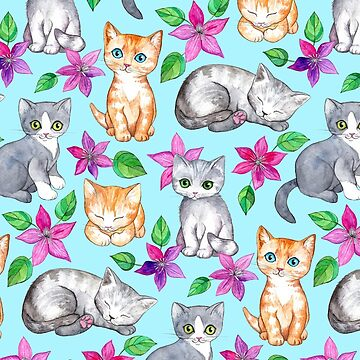Kittens and Clematis - blue by micklyn
