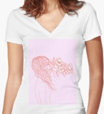 breathe with flowers Women's Fitted V-Neck T-Shirt