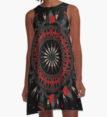Buffalo Skull and Feathers (Red) A-Line Dress