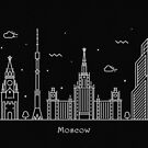 Moscow Skyline Minimal Line Art Poster by A Deniz Akerman