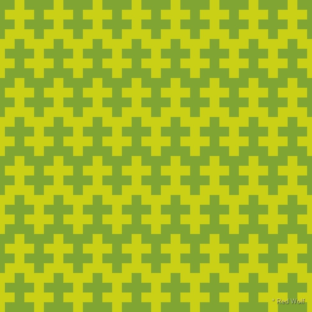 Geometric Pattern: Cross: Green by * Red Wolf