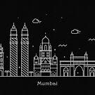 Mumbai Skyline Minimal Line Art Poster by A Deniz Akerman