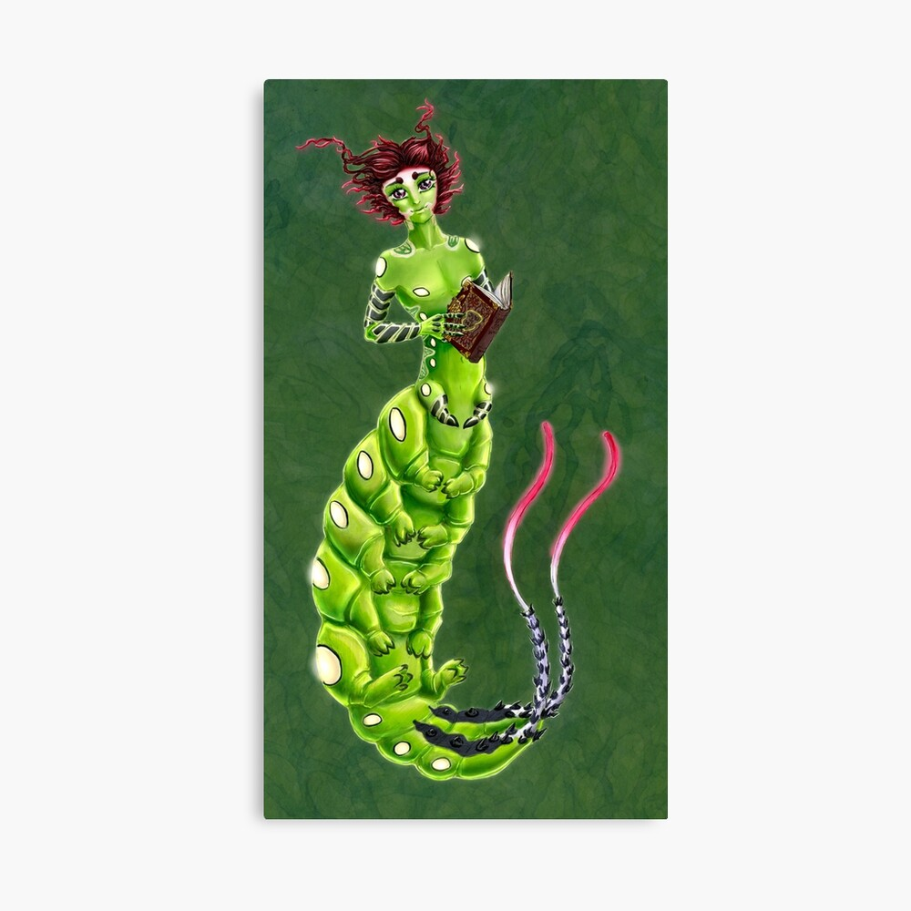 the Caterpillar Boy of Book-loving Canvas Print
