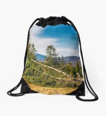 fallen spruce tree on forested hills in springtime Drawstring Bag