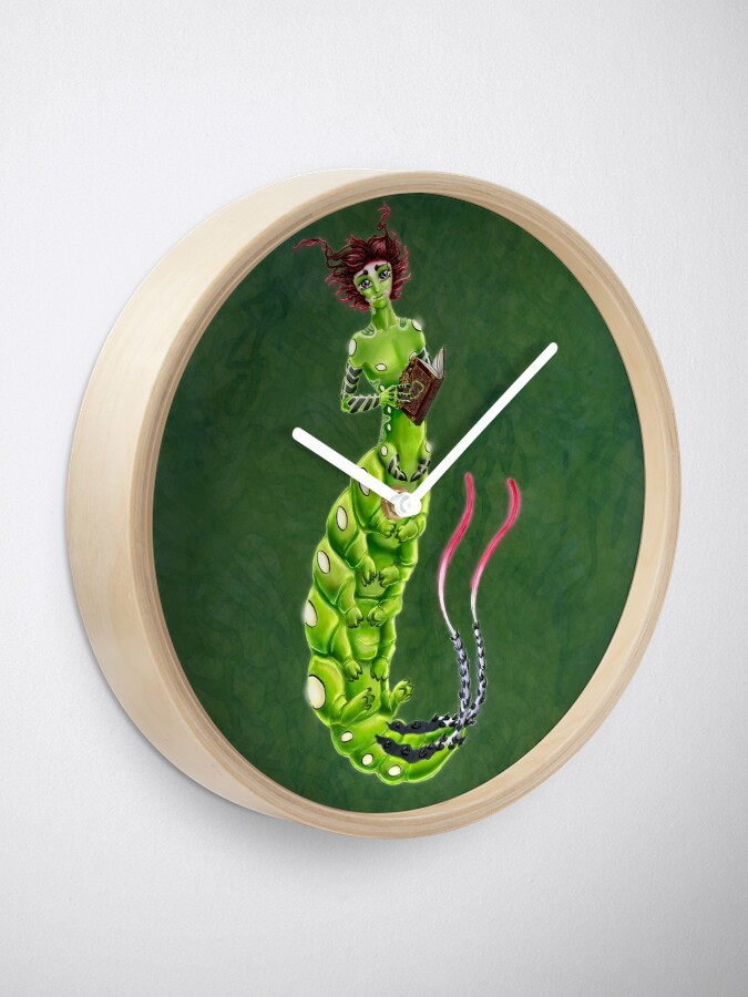 Alternate view of the Caterpillar Boy of Book-loving Clock