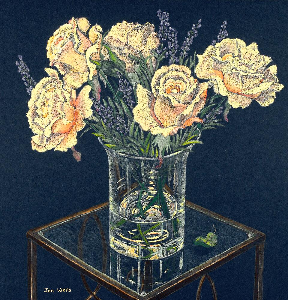 rose still life with glass vase. by WyeLookAtThis